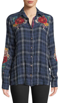 Johnny Was Vicki Waterford Plaid Shirt w/ Floral Embroidery