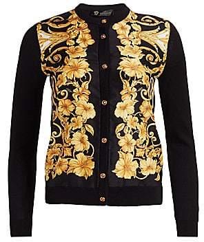 Versace Women's Hibiscus Print Silk Cardigan