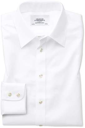 Charles Tyrwhitt Slim Fit Forward Point Collar Non-Iron Twill White Cotton Dress Shirt Single Cuff Size 16.5/36