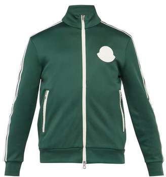 Moncler Rubberised Logo Patch Zip Through Track Jacket - Mens - Green