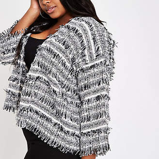 River Island Plus black boucle knit jacket