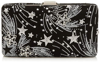 Jimmy Choo CLEMMIE Black Suede Clutch Bag with Crystal Supernova Detailing