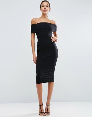 ASOS Deep Off The Shoulder Bardot Midi Bodycon Dress $34 thestylecure.com