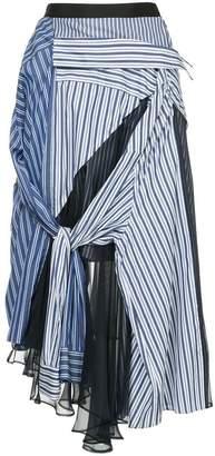 Sacai striped shirt tulle skirt