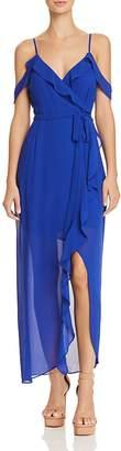 Bardot Lalia Cold-Shoulder Faux-Wrap Maxi Dress