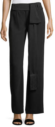 Nanette Lepore Wide-Leg Belted Crepe Pants