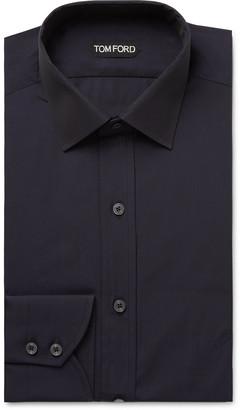 Tom Ford Midnight-Blue Slim-Fit Cotton-Poplin Shirt - Men - Blue