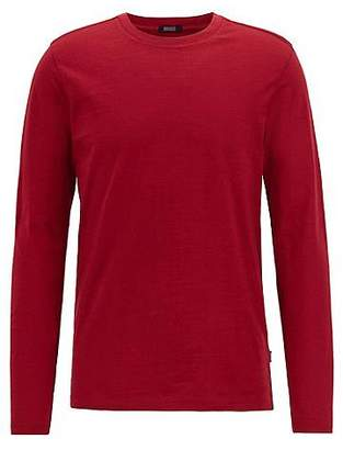 HUGO BOSS Long-sleeved slim-fit T-shirt in mercerised slub cotton