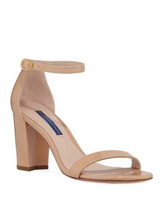 Stuart Weitzman Nearlynude Patent Ankle-Strap Sandals
