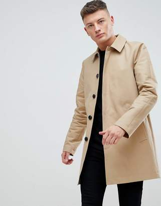 Asos Shower Resistant Single Breasted Trench In Stone