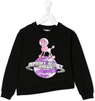 Jeremy Scott Junior globe print asymmetric sweatshirt