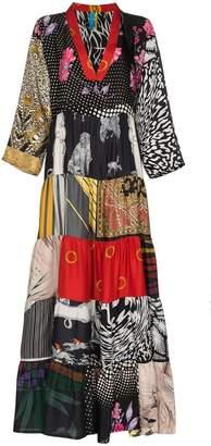 DAY Birger et Mikkelsen Rianna + Nina multi horse floral print V-neck silk kaftan dress
