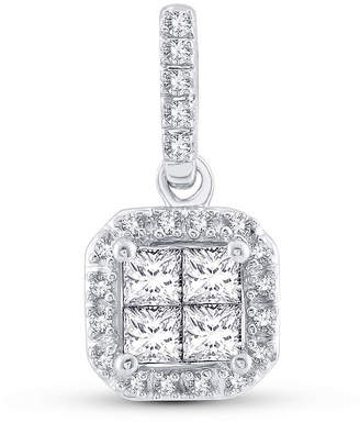 FINE JEWELRY Womens 1/4 CT. T.W. Genuine White Diamond 10K White Gold Pendant Necklace