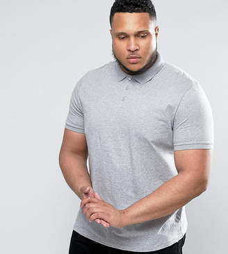 Asos DESIGN PLUS Polo Shirt In Gray Marl
