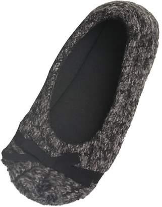 Soleus Home Slipper Women's Indoor Suede Slippers with Non Skid Soles,US 5/6,Black