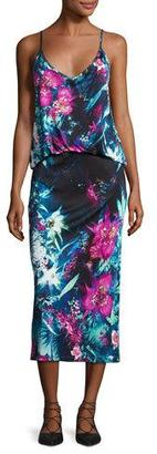 Fuzzi Sleeveless Tropical Floral-Print Midi Dress, Multi $595 thestylecure.com