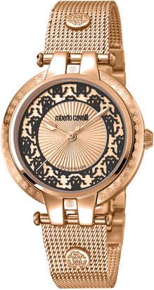 Roberto Cavalli 40mm Contrast Logo Watch w/ Mesh Bracelet, Rose/Black