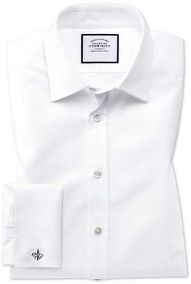 Charles Tyrwhitt Classic Fit Egyptian Cotton Trellis Weave White Dress Shirt Single Cuff Size 16.5/34