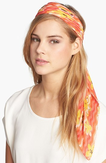 Nordstrom Pleated Floral Scarf Womens Coral One Size One Size