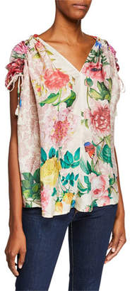 Johnny Was Botan Floral-Print V-Neck Short-Sleeve Caftan Top w/ Tassel Ties, Plus Size