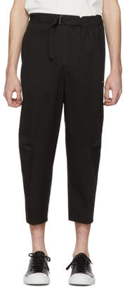 Oamc Black Cropped Cal Belt Trousers