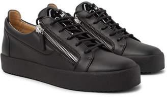 Giuseppe Zanotti Logo-Flocked Leather Sneakers - Black