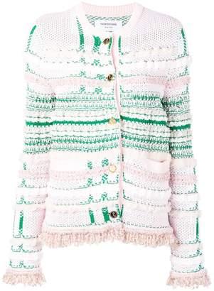 Thom Browne Pink Tweed Crew Neck Jacket