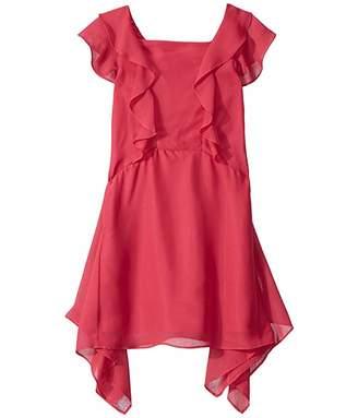 BCBGMAXAZRIA Girls Chiffon Ruffle Dress (Big Kids)