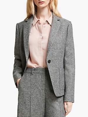 John Lewis & Partners Tweed Blazer, Black/White