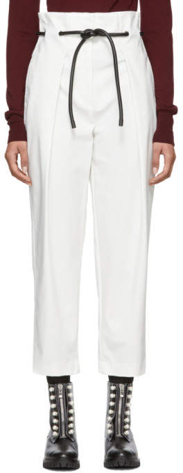 White Origami Pleated Trousers
