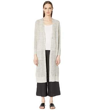 Eileen Fisher Organic Linen Melange V-Neck Maxi Cardigan