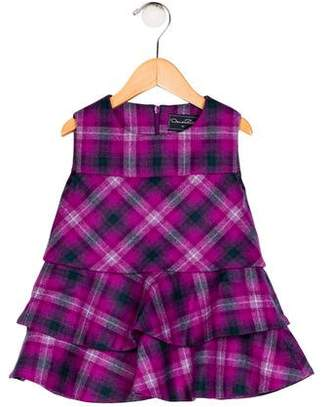 Oscar de la Renta Girls' Wool Plaid Dress w/ Tags