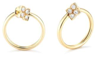 Cartier Yellow Gold and Diamond Hindu Floral Hoops