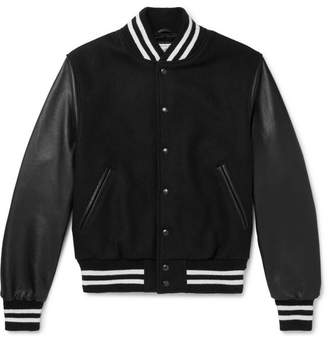 GoldenBear Golden Bear - Virgin Wool-Blend and Leather Bomber Jacket - Men - Black
