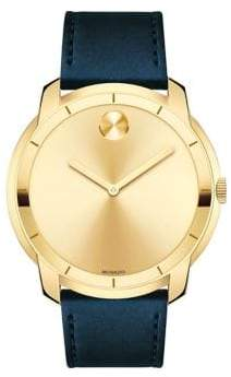 Movado Large Bold Crystal & Stainless Steel Leather-Strap Watch
