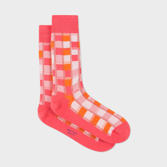 Men's Pink Check Socks $30 thestylecure.com