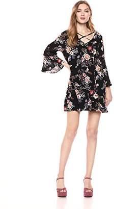 Romantic Dreamers Women's Cross V-Neck Crochet Lace Trimmed Bell Sleeve Shift Woven Dress
