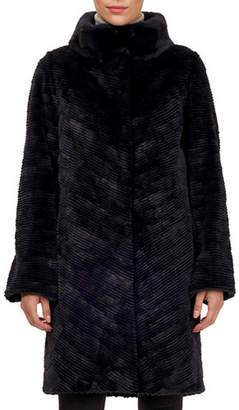 Gorski Lamb Shearling Coat w/ Mink-Fur Collar