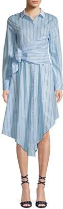 Lea & Viola Striped Self-Tie Cotton Shirtdress