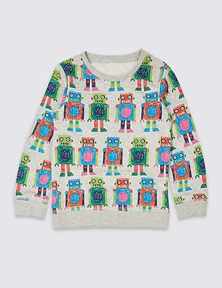 Marks and Spencer Cotton Rich Printed Sweatshirt (3 Months - 7 Years)