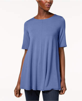Eileen Fisher Stretch Jersey Elbow-Sleeve Top, Regular & Petite