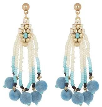 Leslie Danzis Seed Beaded Pompom Earrings
