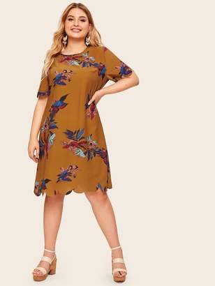 Shein Plus Large Floral Print Scallop Hem Dress