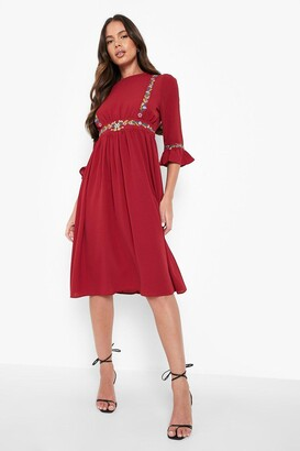 boohoo Embroidered Ruffle Sleeve Midi Dress