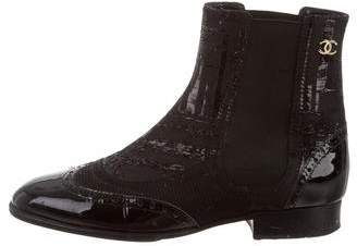 Chanel Brogue Patent Leather Ankle Boots