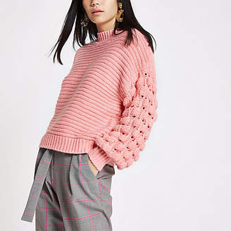 River Island Light pink knit bobble sleeve sweater