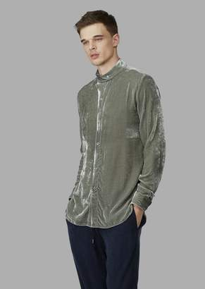 Giorgio Armani Regular-Fit, Guru Collar Shirt In Exclusive Fabric