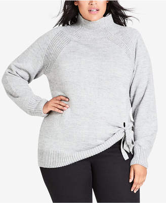 City Chic Trendy Plus Size Tie-Front Sweater