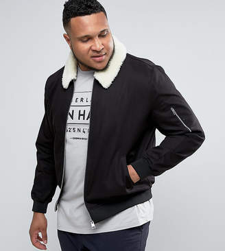 Asos PLUS Cotton Bomber Jacket With Fleece Collar In Black