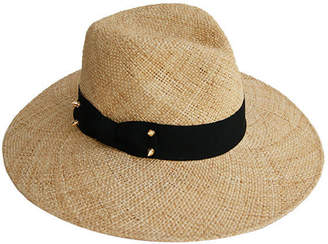Justine Hats Wide Brim Straw Fedora Hat w/ Decorative Stud